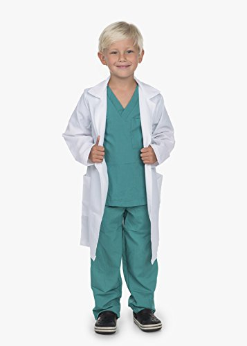 Doctor Medical Scrubs with White Lab Coat Child Youth (M 6X-8 Child) -