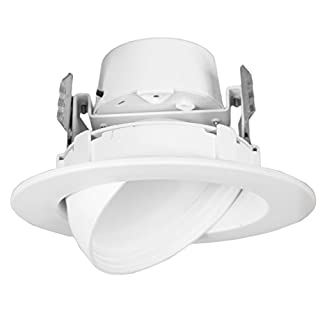 "12 Watt 4""-Inch Rotatable 750 Lumens Maxxima LED Retrofit Downlight Gimbal Warm White 2700k Dimmable, Energy Star"
