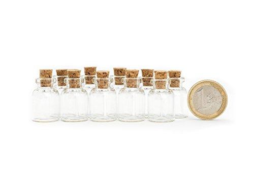 Mini PRECORN Glasfläschchen im 10er Set 1.5 ml Glasflaschen Gewürzglas Likörflaschen Flasche Klarglas mit Korken