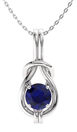 Si1 Sapphire Necklace - Diamondere Natural and Certified Blue Sapphire Infinity Knot Solitaire Necklace in 14k White Gold | 0.48 Carat SI1-SI2 Quality Pendant with Chain