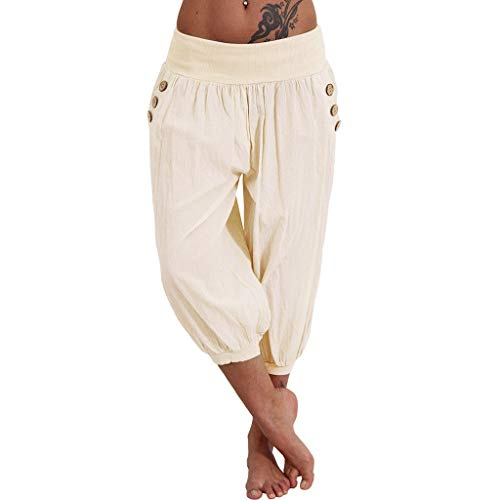 Sunhusing Women's Solid Color High Waist Yoga Pants Fitness Casual Loose Button Buckle Pocket Cropped Pants Beige