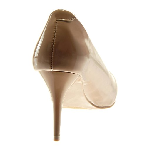 Angkorly Damen Schuhe Pumpe - Stiletto - Dekollete - Schick - Patent Stiletto High Heel 8 cm Beige