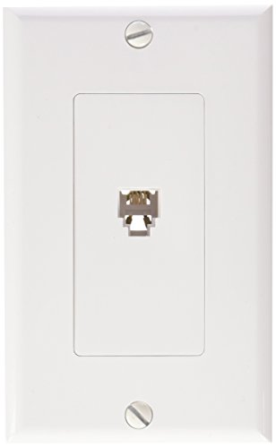 Morris 80161 Decorative Single RJ11 4 Conductor Phone Jack Wall Plate, 2 Piece, White