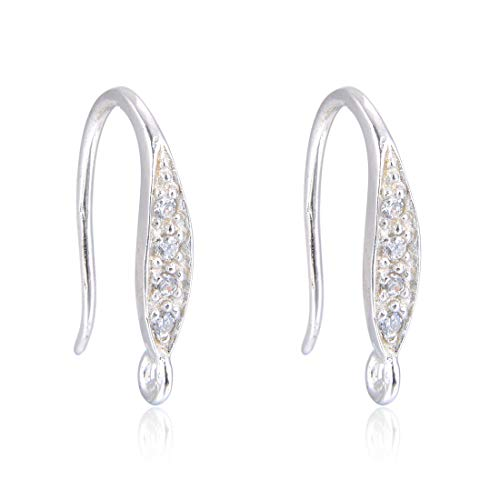 2 Pairs Sterling Silver Elegant French Earring Hooks 17mm Ear Wire Connectors Simulated Diamond Earwire for Earrings Jewelry Making SS33