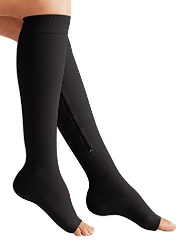 Zipper Compression Knee High Socks Black