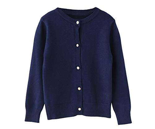 (SMILING PINKER Little Girls Crewneck Cardigans Button Knitted Uniform Sweaters Solid Long Sleeves(2-3T,Navy Blue))