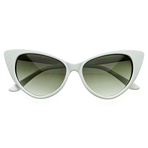 SWG EYEWEAR ® Designer Inspired Super Cat Eye Sunglasses Snow (White Cat Eye Sunglasses)