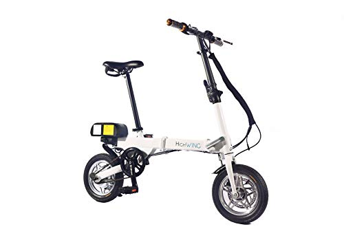 Aluminum Folding EBike with Pedals, Power Assist, and Bafang Motor 36V 250Wh, Sanyo Lithium Ion Battery; Electric Bike with 12 inch Wheels (White)