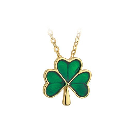 Medium Shamrock Necklace Gold Plated & Green Enamel by Tara