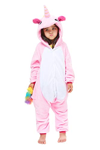 Yutown New Kids Unicorn Costume Animal Onesie Pajamas Halloween Dress Up Gift Pink Pegasus 100 -