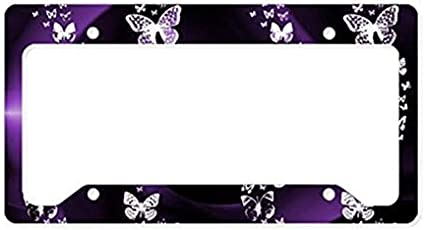 Purple Butterfly Swirl License Plate Frame Decorative Front License Plate,Metal License Plate Covers for Women,Vanity Tag,Novelty Gifts for Dad,Gifts for Mom