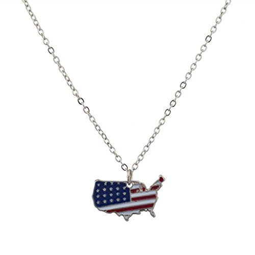 Lux Accessories USA Americana 4th of July American Pride Flag Red White Blue Country Outline North America Pendant Necklace