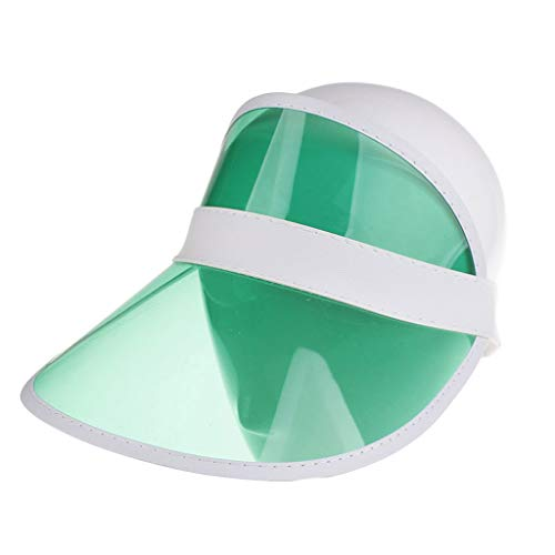 - Moliiy Women's Summer UV Protection Sheer Plastic Visor Wide Clip on Beach Pool Golf Cap Hat (Green)