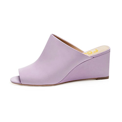 Fsj Donne Sexy Sandali Con Zeppa Peep Toe Stile Slip On Slip On Size Casual 4-15 Us Light Purple