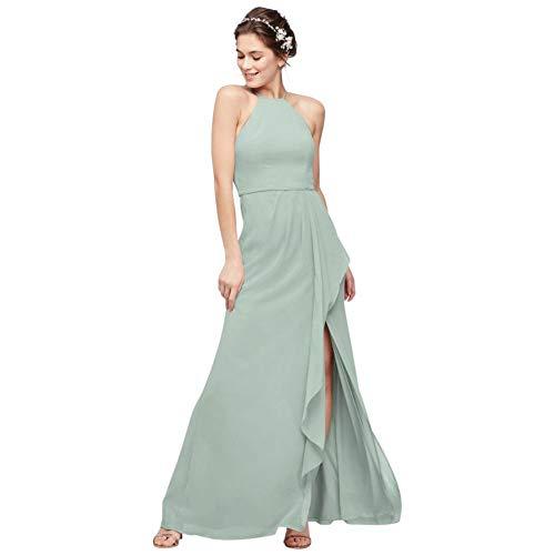 High-Neck Chiffon Bridesmaid Dress with Cascade Style F20014, Dusty Sage, 20