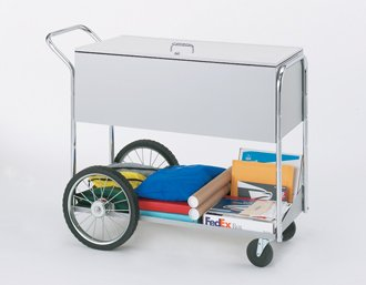 Charnstrom Long Solid Metal Cart with Locking Top and 16-Inch Rear Tires (B284)