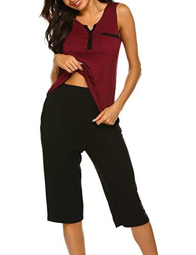 Ekouaer Summer Pajamas for Women - Stylish Ladies Pajama Set Capri Lounge Pants