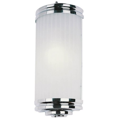 Pocket Wall Sconce Applique Polished Chrome, White Etched Glass 1 CFL Light 13W (Appliques Wall Sconce)