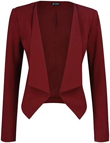 Michel Womens Open Front Work Blazer Ruched Sleeve Casual Office Jacket Small