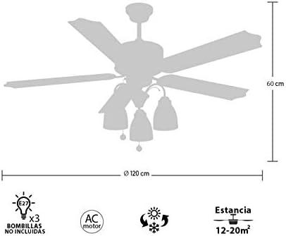 Lámpara Ventilador de Techo Cuero. 5 Aspas. Madera 3xE27. 122 cm ...