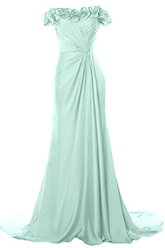 Gown Prom MACloth Formal Women Evening Off with Dress Flowers 2018 Shoulder Aqua Long xSn1P