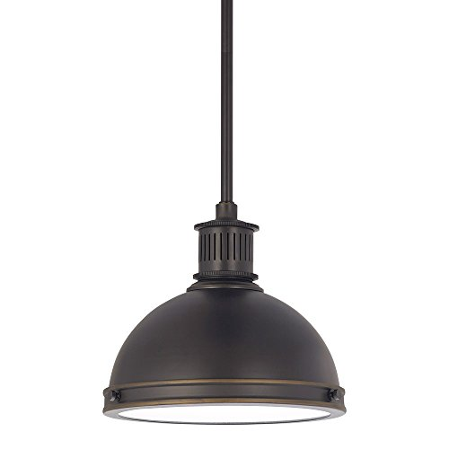 Sea Gull Lighting 65085-715 Pratt Street Metal One-Light Pendant with Clear Textured Glass Lens, Autumn Bronze Finish