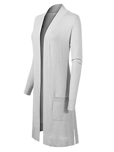 (Instar Mode Women's Solid Soft Stretch Long-Line Long Sleeve Cardigan [S-XL] White L)