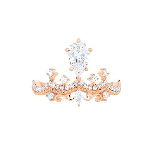 Lukame✯Exquise Mince Petite Branche D'Arbre de Diamant Diamant Principal Petit Anneau Frais Femmes (Or, 9)