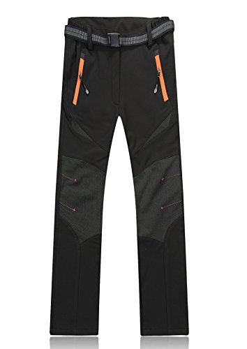 Lanbaosi Womens's Soft Shell Trousers Waterproof Fleece Insulated Ski Snowboard Pants Black Medium
