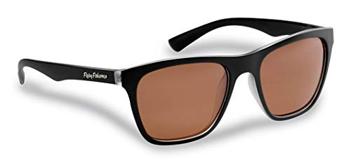 Flying Fisherman Fowey Polarized Sunglasses with AcuTint UV Blocker for Fishing and Outdoor Sports, Crystal-Matte Black Frames/Copper Lenses