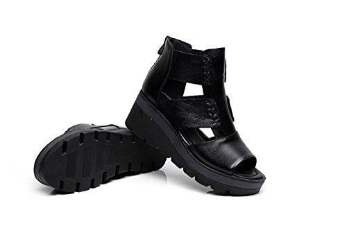 JooXooレディース本革厚底サンダル美脚/脚長/快適 6cm ストラップサンダル 軽くて歩きやすい(【39】24.5cm)