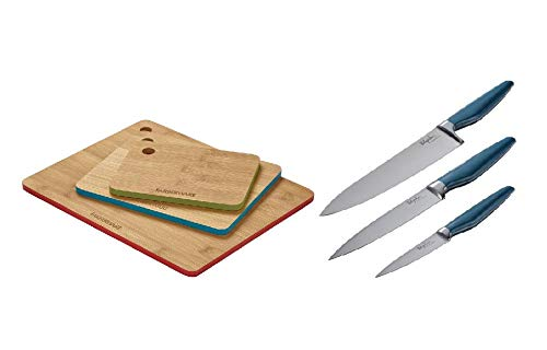 e Steel Cooking Knife Set, 3-Piece in Blue bundle with Farberware 3-Piece Bamboo Cutting Board Set with Color Edges ()