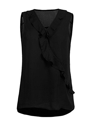 Grabsa Women's Sleeveless Chiffon Blouse Shirt Sexy V Neck Ruffle Front Tank Top Black Ruffle Front Shirt