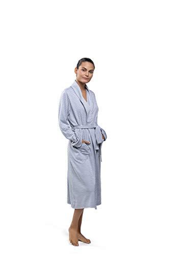 PJ.PIMA Super Soft Peruvian Pima 100% Collar Classic Robe (Heavenly Blue/Soft Cream Stripes, Small Medium)