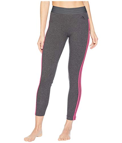 adidas Women's Athletics Essentials 3-Stripes Tights, Dark Grey Heather/Real Magenta, X-Small