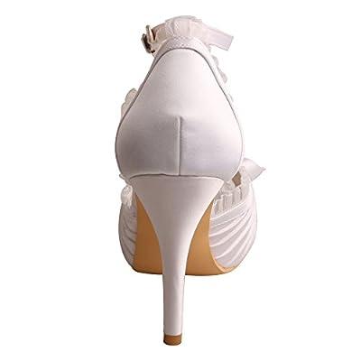 Wedopus MW755 Women's Peep Toe Platform High Heels Satin Evening Prom Wedding Bridal Pumps Shoes