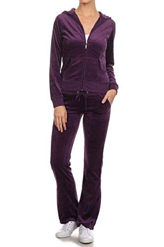 Velour Track Pant (ViiViiKay Women's Soft Velour Tracksuit Athletic Zip Up Hoodie & Sweat Pants Set 001_DARKPURPLE L)