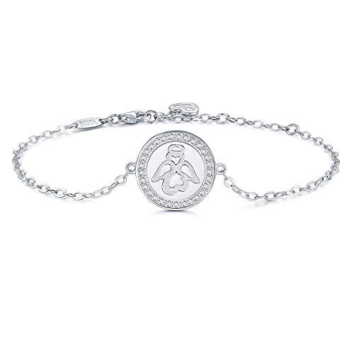 AmorAime 925 Sterling Silver Sweet Guardian Angel Blessing Bracelet Charm Adjustable Bracelet for Women Mother Daughter Graduation Gift ()
