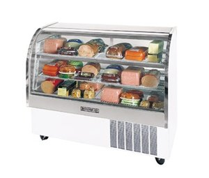 Beverage-Air CDR3/1-W-20 One Section Curved Glass Refrigerated Bakery Display Case 13.4 cu.ft. Capacity White Exterior and Bottom Mounted