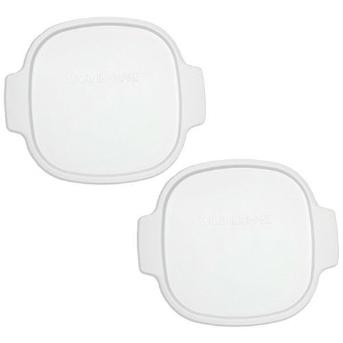Corningware Stovetop A-2-PC 2-Quart/3-Quart White Color Square Pack of 2 Plastic Storage Lids