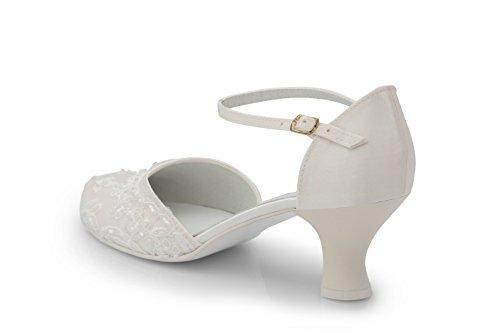 Brautschuhe Riemchenschuhe mit edler Spitze und Perlchen - 5,5 cm Absatzhöhe Ivory