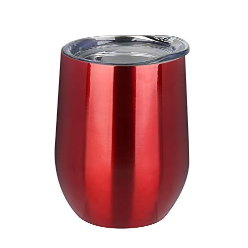 Uspeedy 12 OZ Stainless Steel Wine Glasses, Wine Cup, Wine Tumbler Sippy Cup with Lid for Red Wine, Cocktail, Liquors and Nonalcoholic Beverages (Color 0 2)