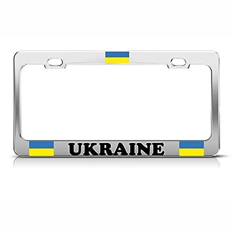 UKRAINE FLAG Chrome Metal Heavy Duty License Plate Frame Tag Border ??????