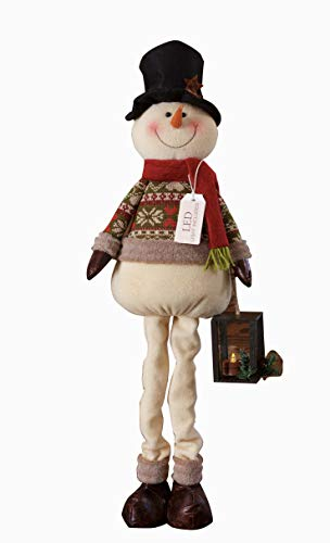Your Heart's Delight Your Standing Snowman Holding Lantern with Led Light, Multi ()