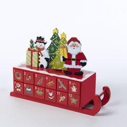 Kurt Adler Wooden Sleigh Shaped Advent Calendar, - Santas Sleigh Advent Calendar