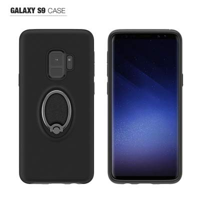 Samsung Galaxy S9 case Hybrid Armor 360 °Rotating Ring Magnetic Mobile Phone case .Heavy Duty Protection Cover for Samsung Galaxy S9 (Black) ()