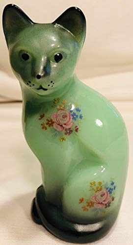 Fenton Art Glass Stylized Cat - Jade Glass - Airbrushed & Decorated - Rosso Exclusive - USA (Black)