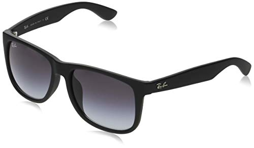 Ray-Ban RB4165F Justin Rectangular Asian Fit Sunglasses, Black Rubber/Grey Gradient, 58 mm