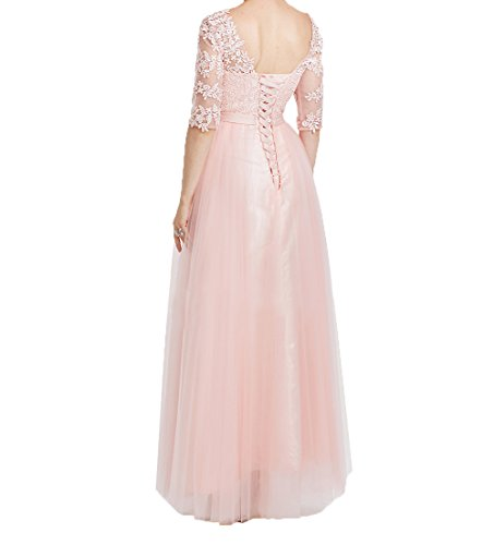 Damen Partykleider Elegant Tuell Lang Promkleider Rot Abendkleider Charmant Langarm Spitze Brautmutterkleider Festlichkleider Hadq6wxH4n