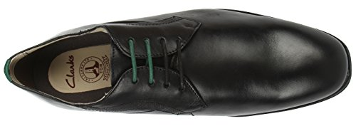 Clarks Gleeson Walk, Stringate da uomo Nero (Nero (Black Leather))